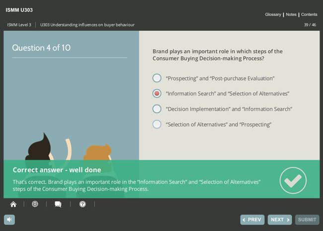 ISMM Level 3 U303 - Understanding Influences on Buyer Behavior Screenshot 2